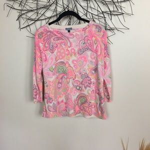 Pink PAISLEY small boho sweater. Crew neck
